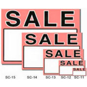 "Sale Sign with Writable Box, 3""W x 2""H, 50 pcs - Black & White on Red"