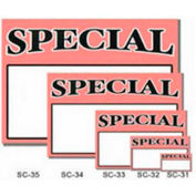 "Special Sign with Writable Box, 2""W x 1""H, 50 pcs - Black & White on Red"