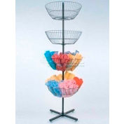 Economy Wire Spinning Display, 4 Baskets, Black