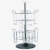 Wire Countertop Magazine Spinner, 2 Tier, Chrome/Black