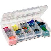 Akro-Mils Medium Clear storage case w/ 2 Dividers 05805, 11x7x2-3/8 - Pkg Qty 6