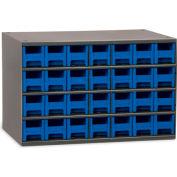 "Akro-Mils Steel Small Parts Storage Cabinet 19228 - 17""W x 11""D x 11""H w/ 28 Blue Drawers"