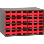 """Akro-Mils Steel Small Parts Storage Cabinet 19228 - 17""""W x 11""""D x 11""""H w/ 28 Red Drawers"""