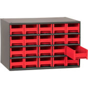 "Akro-Mils Steel Small Parts Storage Cabinet 19320 - 17""W x 11""D x 11""H w/ 20 Red Drawers"