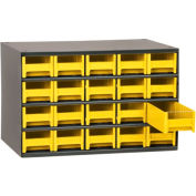 "Akro-Mils Steel Small Parts Storage Cabinet 19320 - 17""W x 11""D x 11""H w/ 20 Yellow Drawers"
