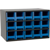 "Akro-Mils Steel Small Parts Storage Cabinet 19715 - 17""W x 11""D x 11""H w/ 15 Blue Drawers"