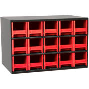 "Akro-Mils Steel Small Parts Storage Cabinet 19715 - 17""W x 11""D x 11""H w/ 15 Red Drawers"