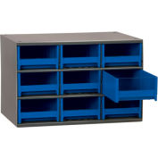 "Akro-Mils Steel Small Parts Storage Cabinet 19909 - 17""W x 11""D x 11""H w/ 9 Blue Drawers"