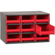 "Akro-Mils Steel Small Parts Storage Cabinet 19909 - 17""W x 11""D x 11""H w/ 9 Red Drawers"