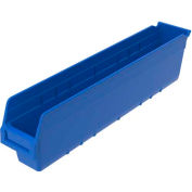 "Akro-Mils ShelfMax® Plastic Shelf Bin Nestable 30044 - 4-1/8""W x 23-5/8""D x 6""H, Blue - Pkg Qty 16"