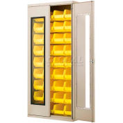 "Akro-Mils AC3618QV240 Quick-View Cabinet w/36 Yellow AkroBins Interior, 36""Wx18""Dx78""H,Beige"