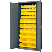 Akro-Mils AC3618Y Steel Cabinet  w/42 Yellow AkroBins Interior, Assembled, 36x18x78, Gray