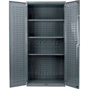 Akro-Mils AC36243AS Steel Cabinet w/3 Shelves, Louvers On Backdoors No Bins,Assembled,36x24x78,Gray