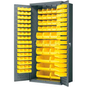Akro-Mils AC3624Y Steel Cabinet  w/138 Yellow AkroBins Interior & Doors, Assembled, 36x24x78, Gray