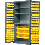 Akro-Mils AC3624Y3AS Steel Cabinet w/3 Shelves & 102 Yellow AkroBins, Assembled, 36x24x78, Gray