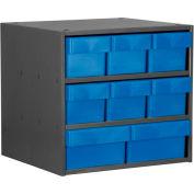 Akro-Mils Super Modular Cabinet AD1811C82BLU Grey w/ 6 Blue Akrodrawers 18 x 11 x 16-1/2