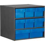 Akro-Mils Super Modular Cabinet AD1817CASTBLU Grey w/ 8 Blue Akrodrawers 18 x 17 x 16-1/2