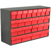 "Akro-Mils Small Stackable Grey Cabinet AD3511C w/24 Red Akrodrawers 36"" x 11"" x 22"""