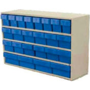 "Akro-Mils Small Stackable Putty Cabinet AD3511P w/16 Blue Akrodrawers 36"" x 11"" x 22"""