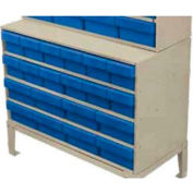 Akro-Mils Large Stackable Grey Cabinet AD3517C w/16 Blue Akrodrawers 35 x 17 x 22