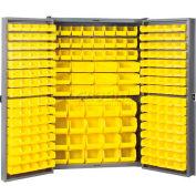 Akro-Mils HD4824E Steel Cabinet w/216 Yellow AkroBins Interior & Doors, Assembled, 48x24x72, Gray