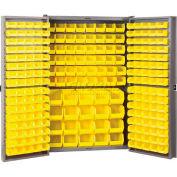 Akro-Mils HD4824F Steel Cabinet w/228 Yellow AkroBins Interior & Doors, Assembled, 48x24x72, Gray