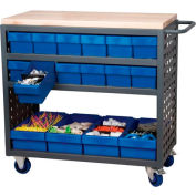 "Akro-Mils Small Grey Louvered Shelf Cart Hardwood Top MA3618C w/16 Blue Drawers, 37""L x 18 ""W x 36""H"
