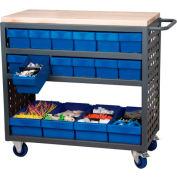 "Akro-Mils Small Grey Louvered Shelf Cart Hardwood Top MA3618C w/16 Red Drawers, 37""L x 18 ""W x 36""H"