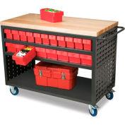 Akro-Mils Large Grey Louvered Shelf Cart Hardwood Top MA4824C w/32 Blue AkroDrawers