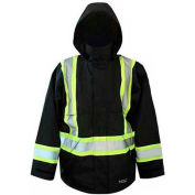 Viking® Journeyman FR Professional Trilobal Rip-Stop Jacket W/Hi-Vis Safety Striping Black, L