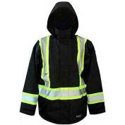Viking® Journeyman FR Professional Trilobal Rip-Stop Jacket W/Hi-Vis Safety Striping Black, 4XL