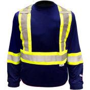 Viking® 6015N Hi-Vis Safety Poly/Cotton Lined Long Sleeve Shirt, Navy, L