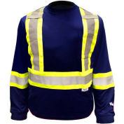 Viking® 6015N Hi-Vis Safety Poly/Cotton Lined Long Sleeve Shirt, Navy, 2XL