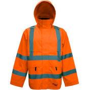 Viking® D6329JO Journeyman Hi-Vis 300D Trilobal Safety Jacket W/ Hood, Orange, 2XL