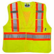 Viking® U6125G Hi-Vis Mesh 5 Pt. Break-Away Safety Vest, Green, 2XL/3XL
