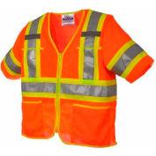 Viking® U6155O Hi-Vis Class 3 Safety Vest, Orange, 3XL