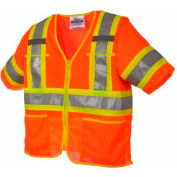 Viking® U6155O Hi-Vis Class 3 Safety Vest, Orange, XL
