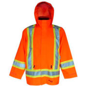 Viking® U6330JO Journeyman Hi-Vis 300D Trilobal Jacket W/ Hood, Orange, 5XL