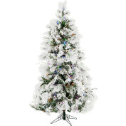 Christmas Time Artificial Christmas Tree - 6.5 Ft. Frosted Fir Multi - Color/Clear LED Lights