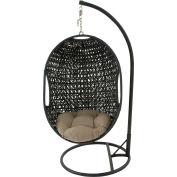 Hanging Pod Swing w/ Wicker Mosaic Pattern and Sage Green Round Cushion