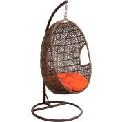 Hanging Pod Swing w/ Wicker Crochet Pattern and Orange Round Cushion