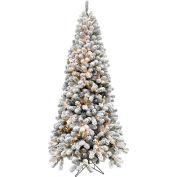 Fraser Hill Farm Artificial Christmas Tree - 7.5 Ft. Alaskan Flocked - Clear Smart Lights