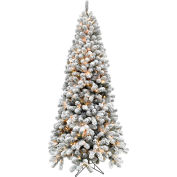 Fraser Hill Farm Artificial Christmas Tree - 7.5 Ft. Alaskan Flocked - 8F Clear LED Lights