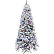 Fraser Hill Farm Artificial Christmas Tree - 7.5 Ft. Alaskan Flocked - Multi LED Lights