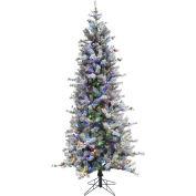 Fraser Hill Farm Artificial Christmas Tree - 7.5 Ft. Buffalo Fir Slim - Multi LED Lights
