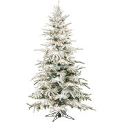 Fraser Hill Farm Artificial Christmas Tree, 7.5 Ft. Mountain Pine Flocked, Clear LED Lights