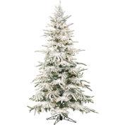 Fraser Hill Farm Artificial Christmas Tree, 7.5 Ft. Mountain Pine Flocked, Multi LED Lights