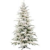 Fraser Hill Farm Artificial Christmas Tree - 9 Ft. Flocked Mountain Pine - Multi-Color LED Lighting