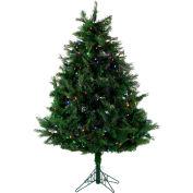 Fraser Hill Farm Artificial Christmas Tree - 5 Ft. Northern Cedar Teardrop - Multi-Color LED Lights