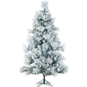 Fraser Hill Farm Artificial Christmas Tree - 9 Ft. Flocked Snowy Pine - Clear LED String Lighting